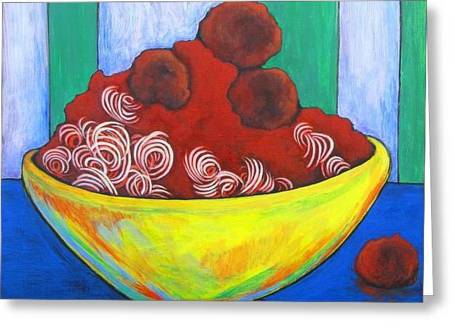 Spaghetti And Meatballs Greeting Card by Pamela Iris Harden