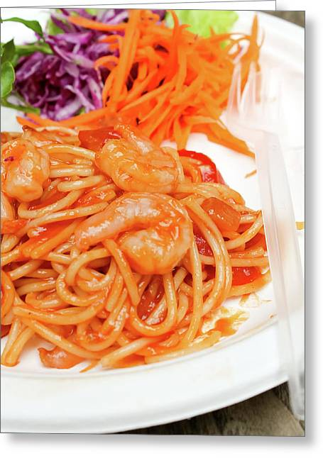 Spaghetti Noodles Greeting Cards - Spaghetti and shrimp Greeting Card by Sarayut Mathavetchathum
