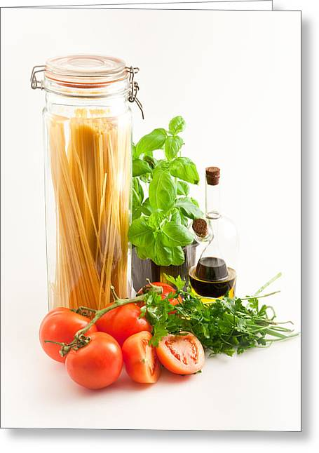 Healthy Herbs Greeting Cards - Spaghetti Greeting Card by Tom Gowanlock