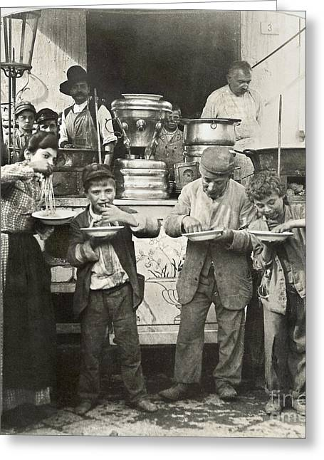 Satisfaction Greeting Cards - SPAGHETTI VENDOR, c1908 Greeting Card by Granger