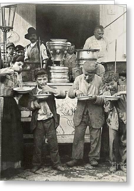 Italian Shopping Photographs Greeting Cards - SPAGHETTI VENDOR, c1908 Greeting Card by Granger
