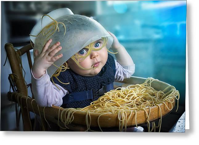 Spaghetti Greeting Cards - Spaghettitime Greeting Card by John Wilhelm