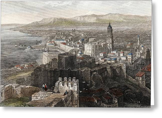 Malaga Greeting Cards - Spain, Malaga. General View. 1840 Steel Greeting Card by Ken Welsh