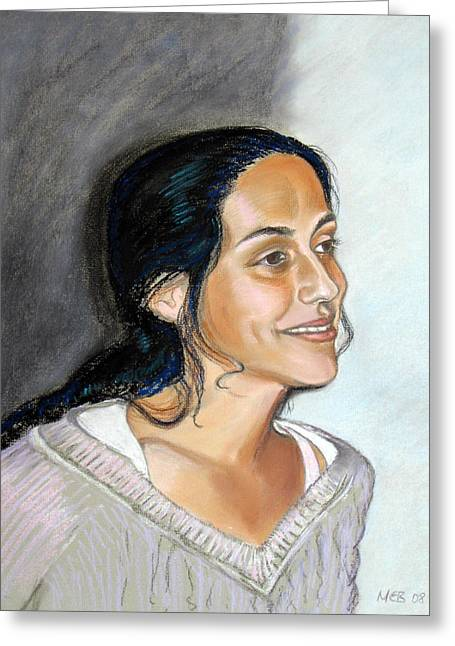 Young Lady Pastels Greeting Cards - Spanish beauty Isabel Greeting Card by Melanie Bourne