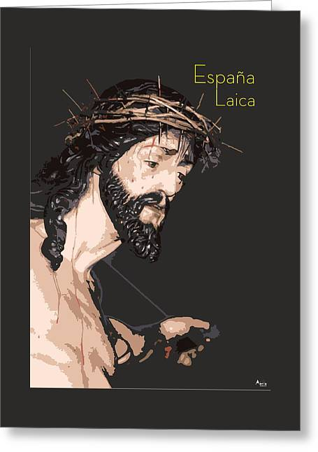 Crucifix Drawings Greeting Cards - Spanish Christ Greeting Card by Joaquin Abella