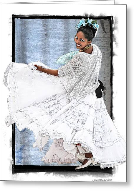 Mexican Dancing Greeting Cards - Spanish Dancer Greeting Card by Joan  Minchak