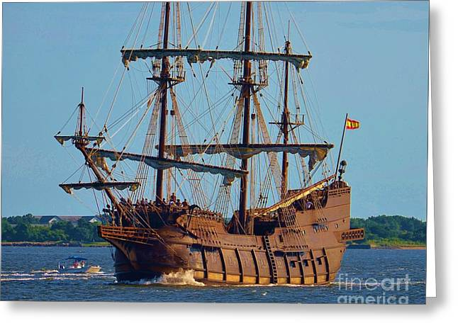 Pirate Ships Greeting Cards - Spanish Galleon Greeting Card by Bob Sample
