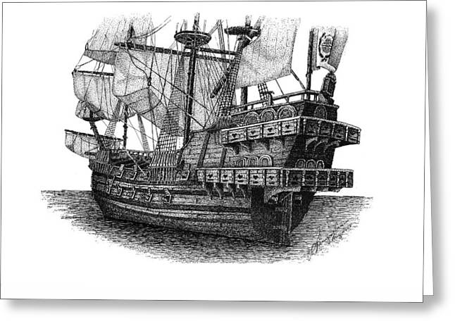 Tall Ships Drawings Greeting Cards - Spanish Galleon Greeting Card by Tanya Crum