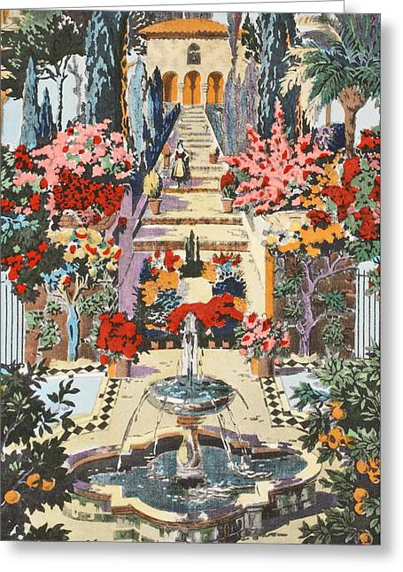 Featured Drawings Greeting Cards - Spanish garden Greeting Card by Harry Wearne