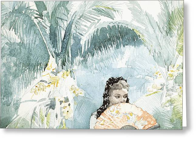 Latina Greeting Cards - Spanish Girl With A Fan Greeting Card by Winslow Homer