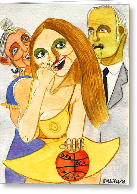 Basket Ball Greeting Cards - Spanish Girl With Her Grandparents Greeting Card by Don Pedro De Gracia