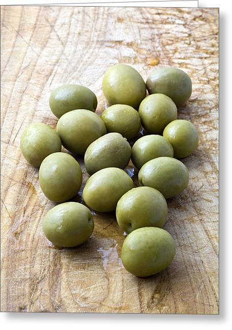 Olives Photographs Greeting Cards - Spanish Manzanilla Olives Greeting Card by Frank Tschakert