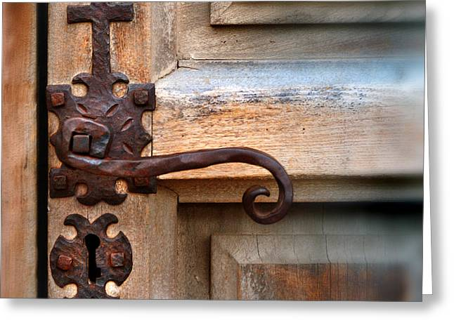 Spanish Mission Door Handle Greeting Card by Jill Battaglia