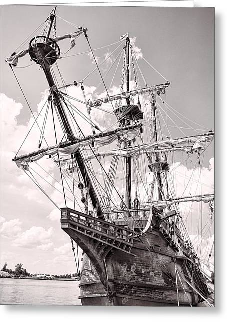Tall Ship Pyrography Greeting Cards - Spanish Tall Ship El Galleon Greeting Card by Brett Price
