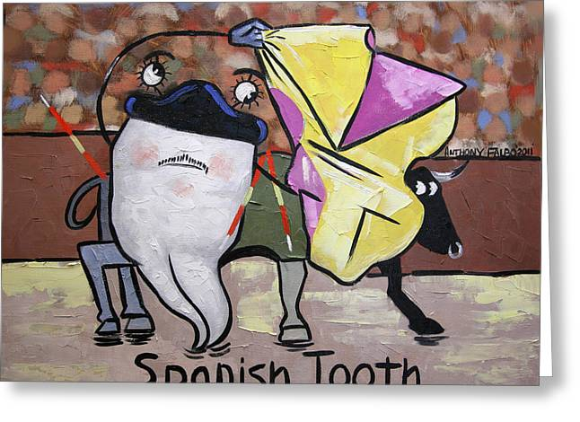 Cubist Mixed Media Greeting Cards - Spanish Tooth Greeting Card by Anthony Falbo