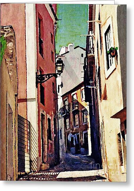 Spanish Town Greeting Card by Sarah Loft