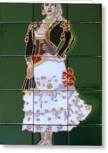 Outfit Ceramics Greeting Cards - Spanish Traditional Woman Greeting Card by Yana Yatsyk