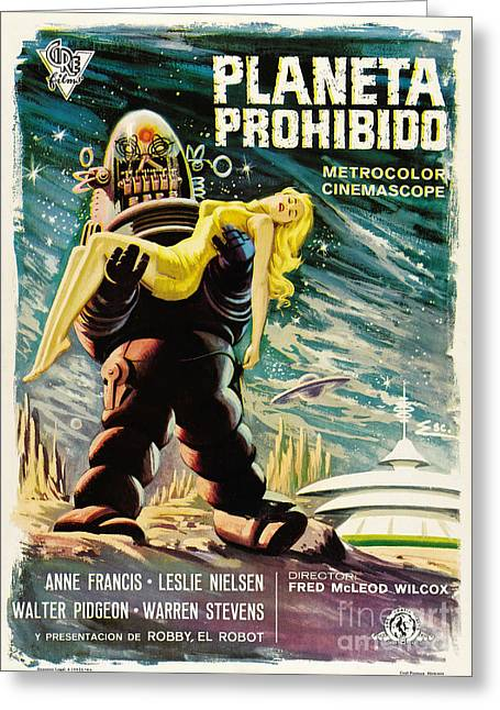 Spanish Version Of Forbidden Planet In Cinemascope Retro Classic Movie Poster Greeting Card by R Muirhead Art