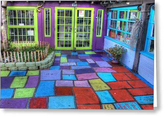 Flagstone Greeting Cards - Spanish Village Art Center Greeting Card by Jane Linders