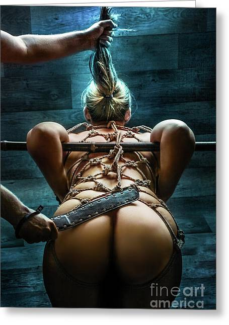 Spanking Greeting Cards - Spanking - Fine Art of Bondage Greeting Card by Rod Meier