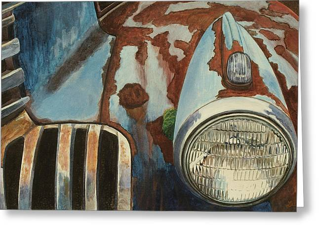 Headlight Paintings Greeting Cards - Spare Your Heart Greeting Card by Laurie Stewart