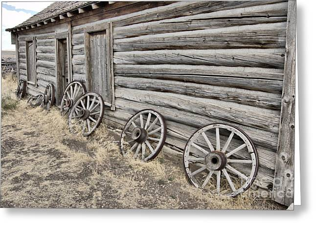 Wooden Wagons Drawings Greeting Cards - Spares Greeting Card by Nena Trapp