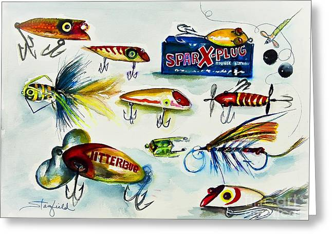 Landscape Framed Prints Greeting Cards - SPARK- Plug Fishing Lures Greeting Card by Johnnie Stanfield