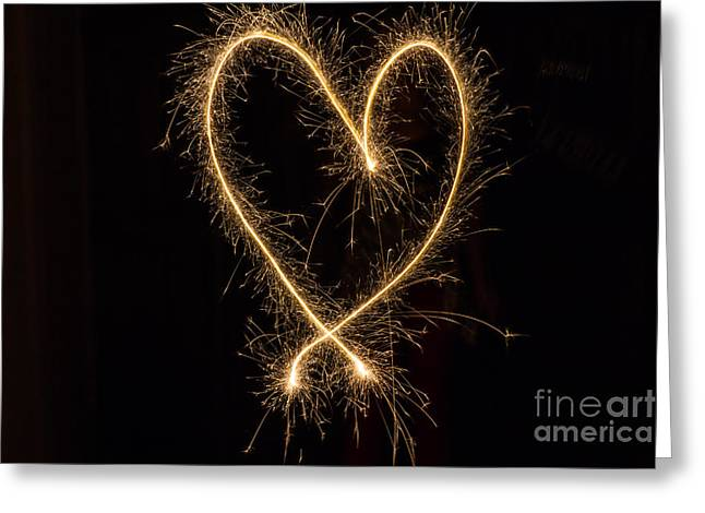 4th July Greeting Cards - Sparkler Heart Greeting Card by Ashley M Conger