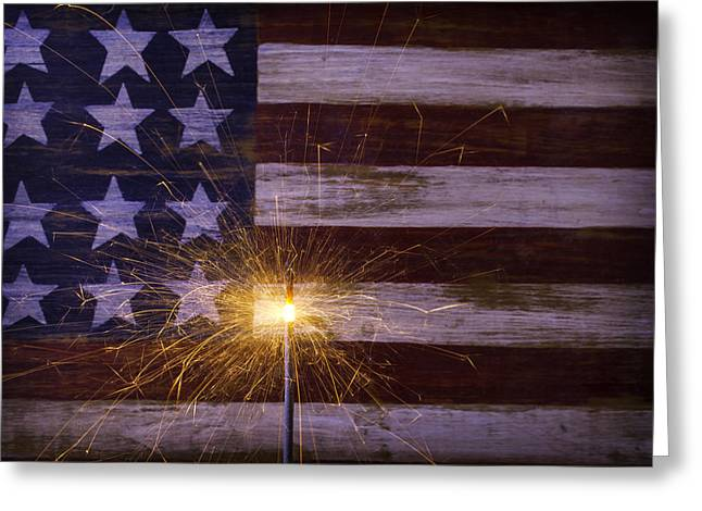 4th July Greeting Cards - Sparkler With American Flag Greeting Card by Garry Gay