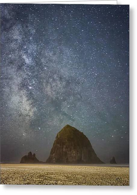 Monolith Greeting Cards - Sparkling Skies Over Haystack Rock Greeting Card by Don Schwartz