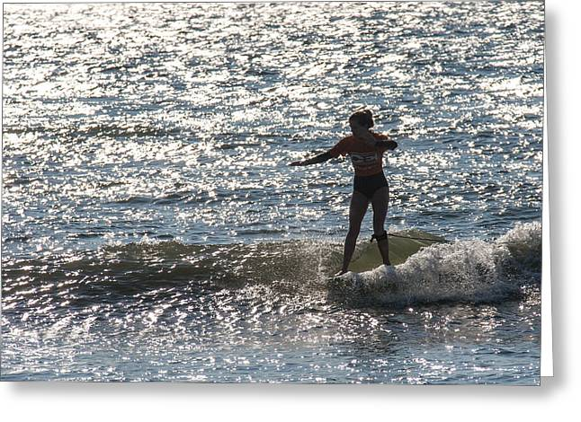 Surfing Photos Greeting Cards - Sparkling Style Greeting Card by AM Photography