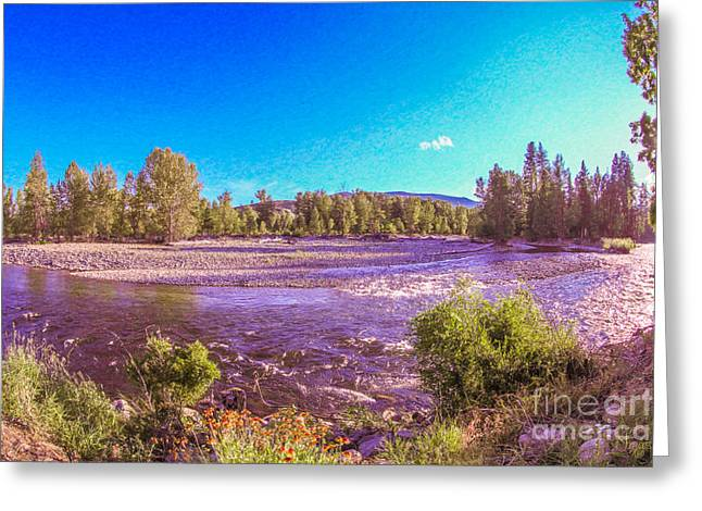 Stream Digital Greeting Cards - Sparkling Surprises Methow Valley Landscapes by Omashte Greeting Card by Omaste Witkowski