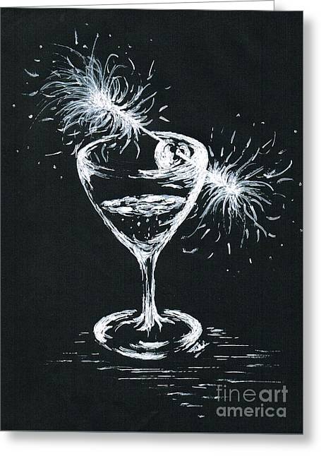 Wine-glass Greeting Cards - Sparkling Wine  Greeting Card by Teresa White