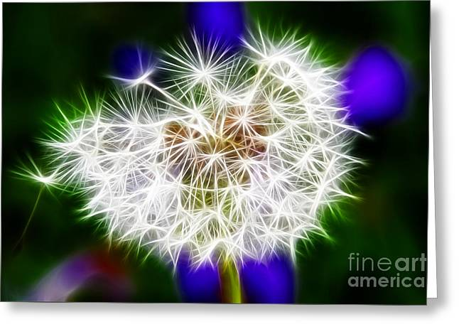 Uci Greeting Cards - Sparkly Dandelion Greeting Card by Mariola Bitner