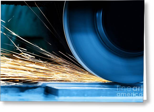 Grinding Greeting Cards - Sparks from grinding machine Greeting Card by Michal Bednarek