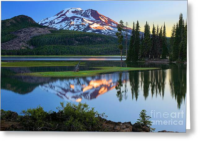 Spark Greeting Cards - Sparks Lake Sunrise Greeting Card by Inge Johnsson