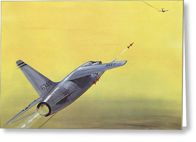 Jet Greeting Cards - Sparrow Air To Air Missile  Greeting Card by American School