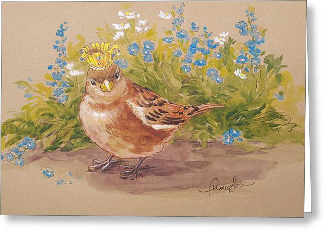 Birds With Flowers Greeting Cards - Sparrow Queen Greeting Card by Tracie Thompson