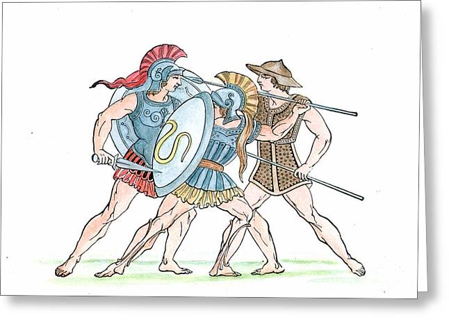 Sparta Greeting Cards - Spartan Military Costumes Greeting Card by Granger