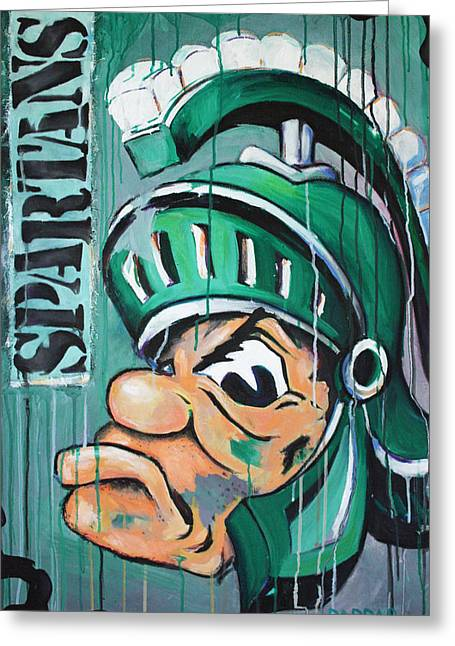 Football Words Greeting Cards - Spartans Greeting Card by Julia Pappas