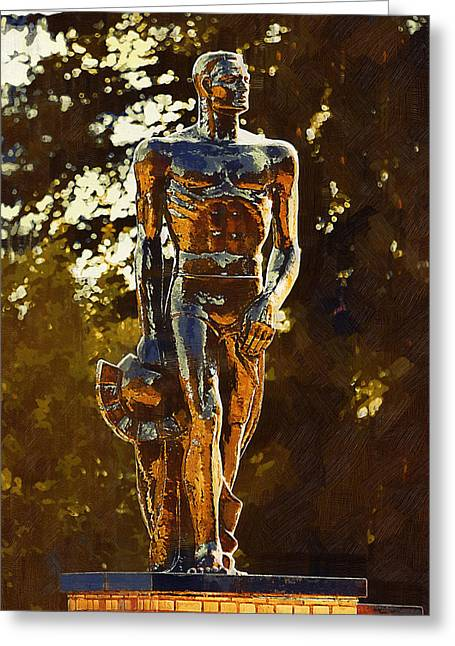 Universities Greeting Cards - Sparty Greeting Card by Paul Bartoszek