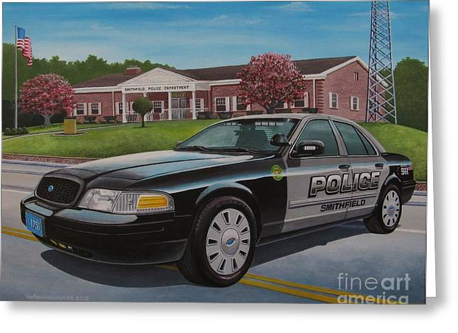 Police Cruiser Paintings Greeting Cards - Spd2015 Greeting Card by Robert VanNieuwenhuyze