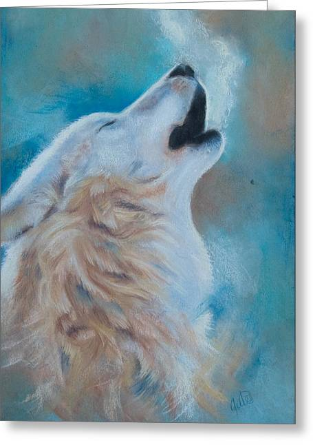 Wolf Pastels Greeting Cards - Speak Greeting Card by Joanna Gates