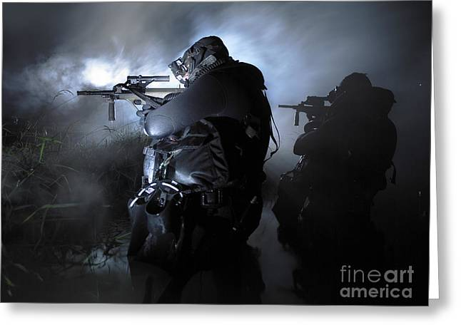 Jungle Warfare Greeting Cards - Special Operation Forces Combat Divers Greeting Card by Tom Weber