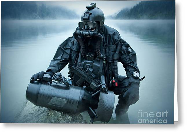 Haze Greeting Cards - Special Operations Forces Combat Diver Greeting Card by Tom Weber