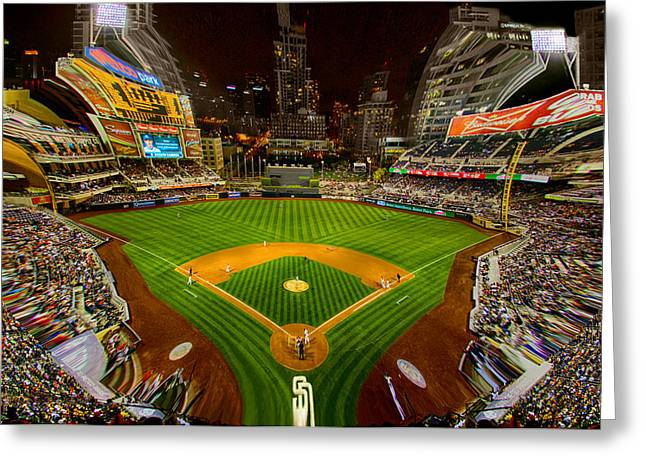 Petco Park Photographs Greeting Cards - Special View of Petco Park at Night  Greeting Card by Irv Lefberg