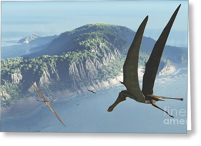 Paleontology Greeting Cards - Species From The Genus Anhanguera Soar Greeting Card by Walter Myers
