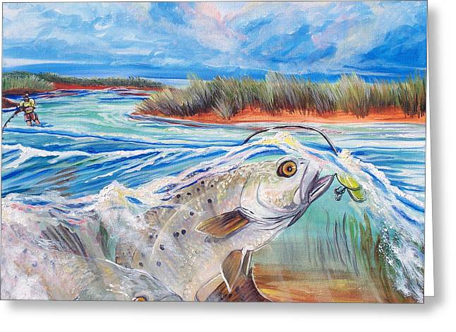 Jenn Cunningham Greeting Cards - Speckled Trout Greeting Card by Jenn Cunningham