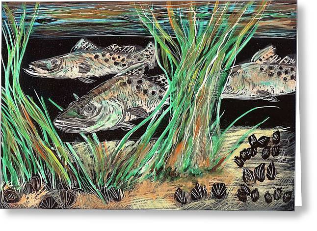 Speckled Trout Greeting Cards - Specks In the Grass Greeting Card by Robert Wolverton Jr
