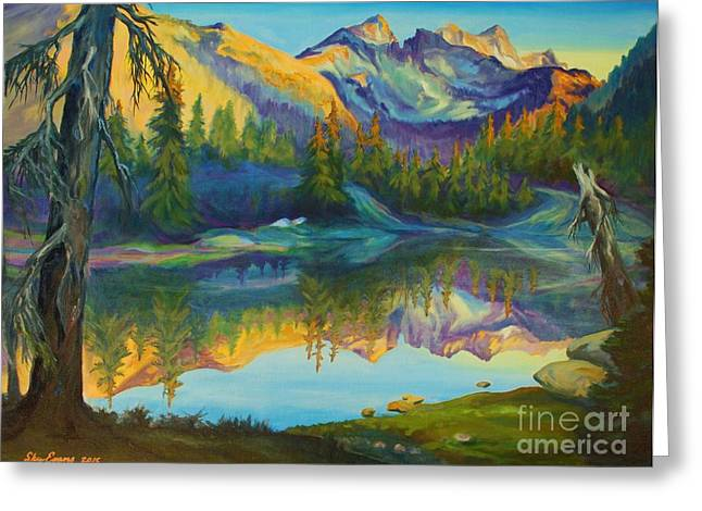 Backpacking Paintings Greeting Cards - Spectacle Lake on the PCT Greeting Card by Sky Evans
